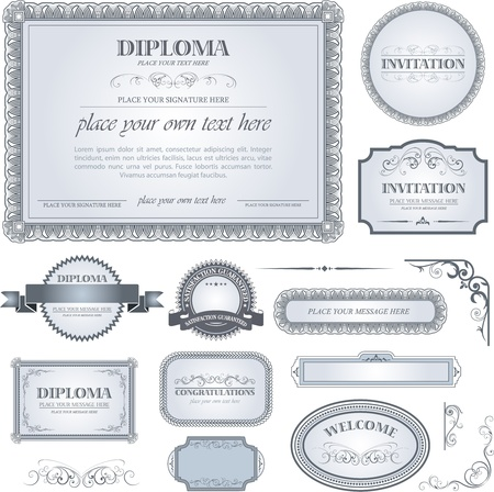 stock illustration: Diploma template with additional design elements