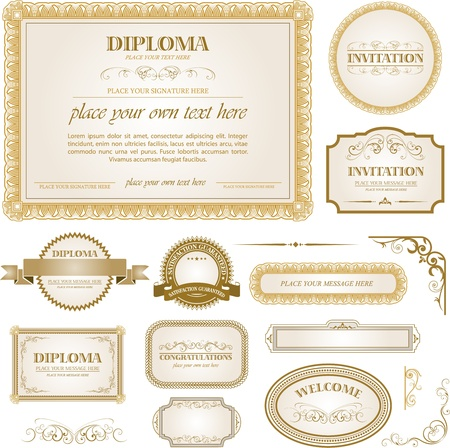 diploma border: Diploma template with additional design elements
