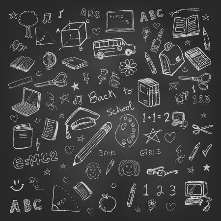 autobus escolar: Volver a doodles de la escuela en el fondo pizarra