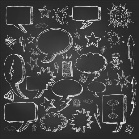 blackboard cartoon: Speech bubbles doodles in black chalkboard Stock Photo
