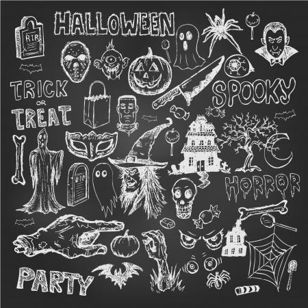 chalkboard: Main tiré doodles Halloween jeu d'icônes