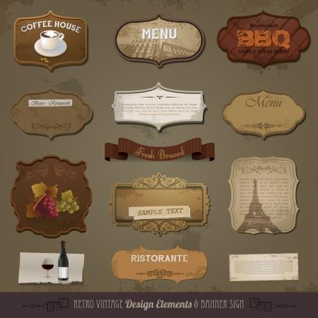 Elementos de diseño retro y vintage, papeles viejos, etiquetas Ilustración de vector