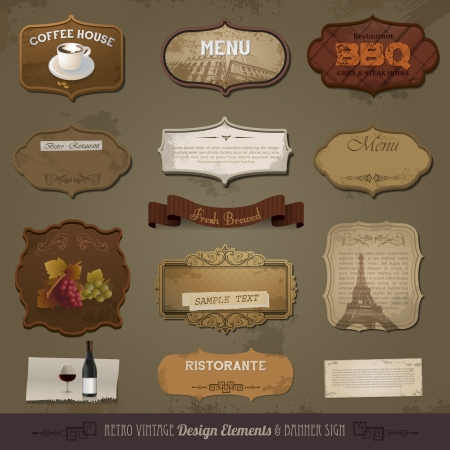 retro restaurant: Vintage And Retro Design Elements, old papers, labels