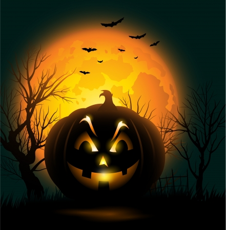 spooky: Scary Jack o lantern face Halloween background Illustration