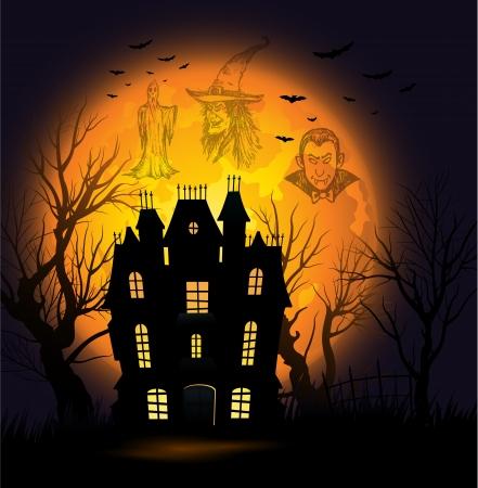 cute backgrounds: Halloween de fondo con la luna llena y la casa embrujada Vectores