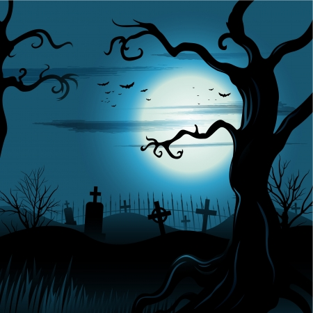 Creepy tree Halloween background with moon and cemetery