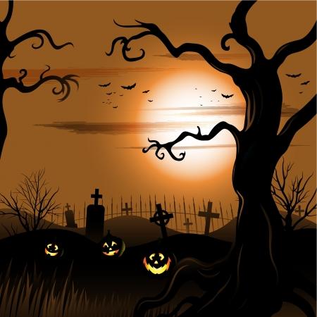 gruselig: Creepy Baum Halloween Hintergrund mit Mond und Friedhof Illustration