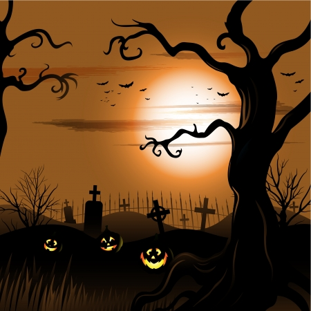 Creepy tree Halloween background with moon and cemetery Çizim