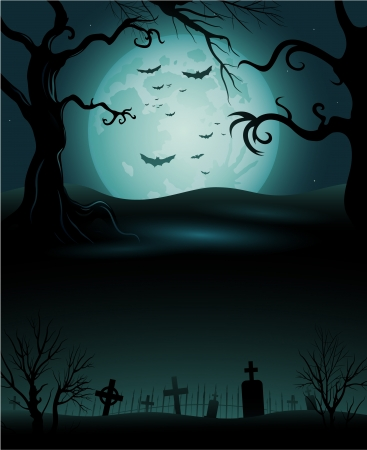 tombstone: Creepy tree Halloween background copyspace