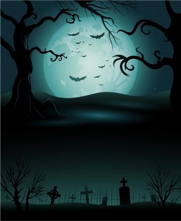 misty forest: �rbol espeluznante de Halloween de fondo copyspace
