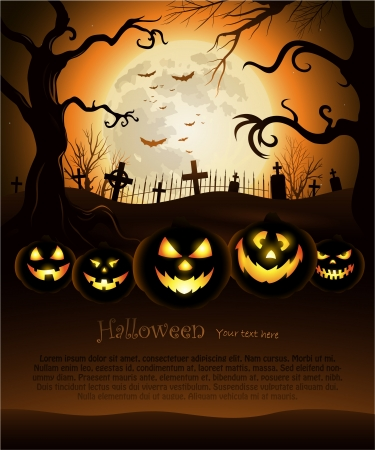 Orange Halloween background with moon and cemetery  Vector