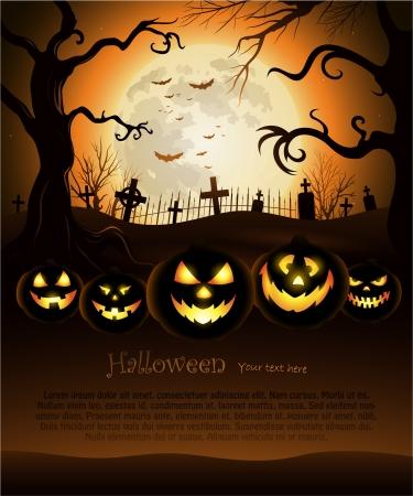 gruselig: Orange Halloween Hintergrund mit Mond und Friedhof