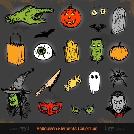 Hand drawn Halloween doodles collection set  Vector