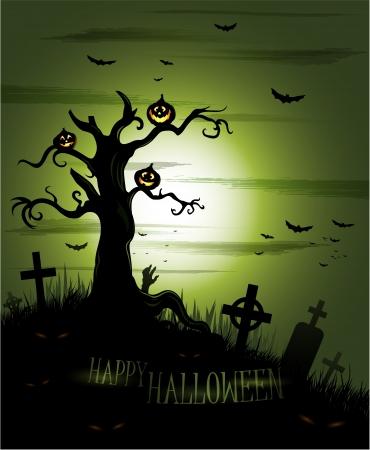 spooky graveyard: Greeny Halloween background