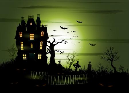 Greeny Halloween haunted house background