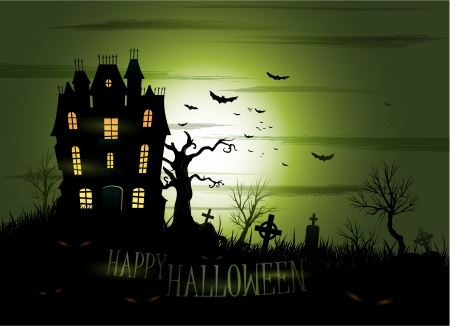 cemetery: Greeny Halloween haunted house background