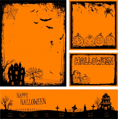 Multiple orange Halloween banners and backgrounds  Illustration