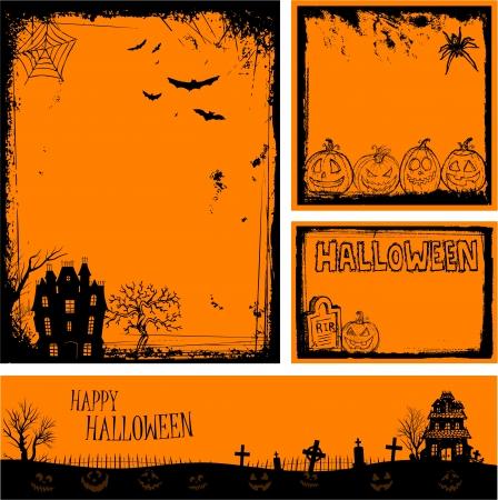 Multiple orange Halloween banners and backgrounds Stock Vector - 21896224