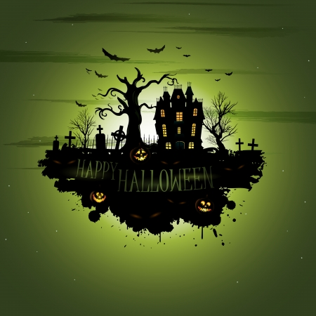 haunted house: Multiple orange Halloween banners and backgrounds  Illustration