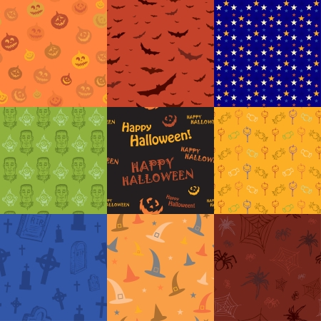 Nine Halloween texture pattern collection set  Vector