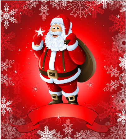 Red Christmas greeting card with santa claus Vector