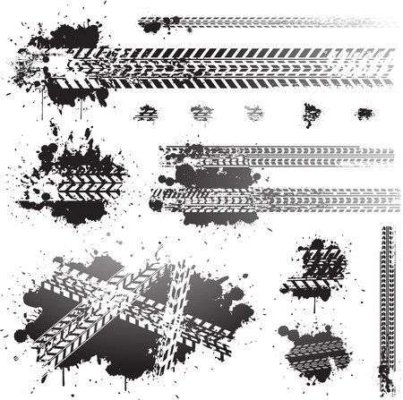 Dirty tire tracks and oil splats  Vector