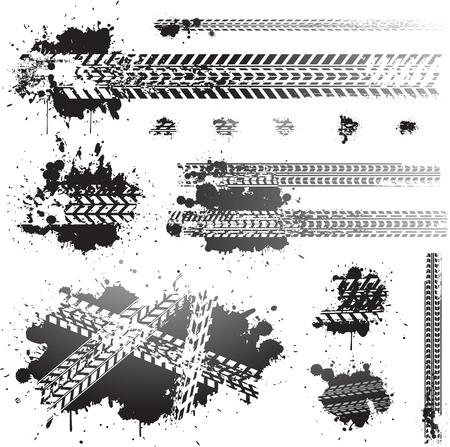 Traces de pneus sales et des icônes d'huile Banque d'images - 22800631