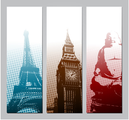 Europe travel banners illustration Vector