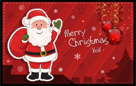 Red horizontal Christmas card with Santa Claus eps10 Vector