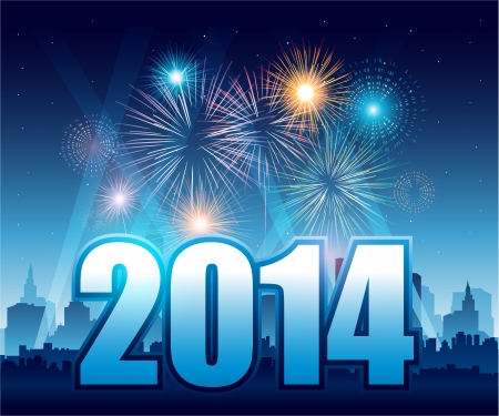 Happy New Year 2014 with fireworks and city