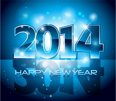 Vector Happy New Year 2014 blue colorful background  Vector