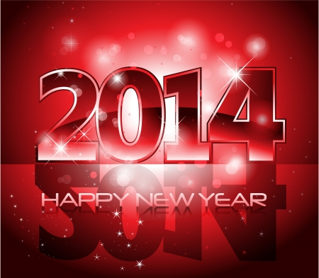 Vector Happy New Year 2014 red colorful background  Vector