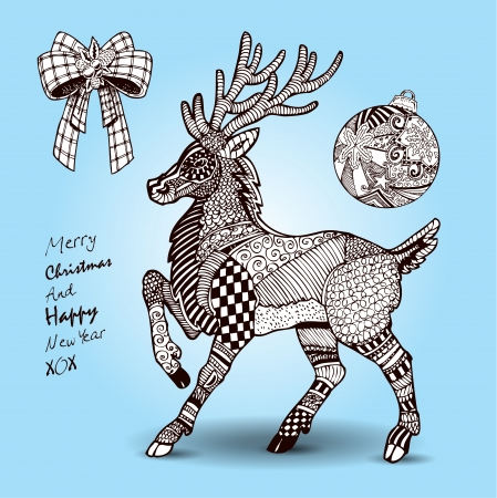 Hand drawn Christmas Reindeer and decorations set  Vector