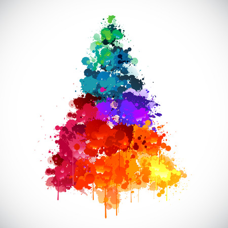 christmas tree purple: Colorful abstract paint splash Christmas tree