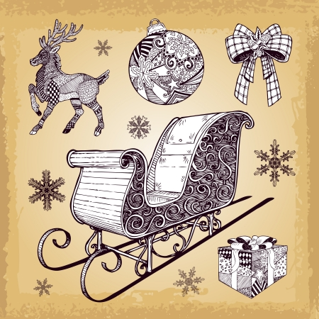 Hand drawn Christmas sleight and decoration doodles set eps 10