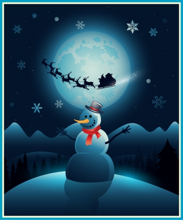Christmas background with snowman and santa claus eps 10 Vector