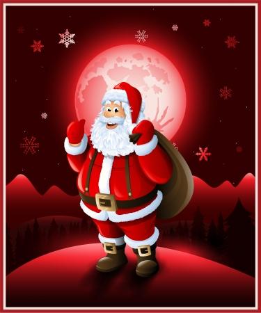 santa claus background: Santa Claus background Christmas red greeting card design Illustration
