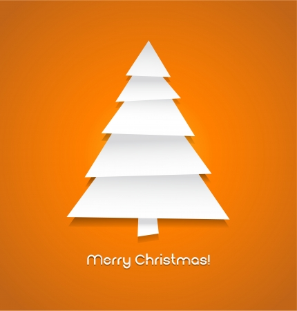Vector christmas tree made from pieces of white paper eps 10 Vector