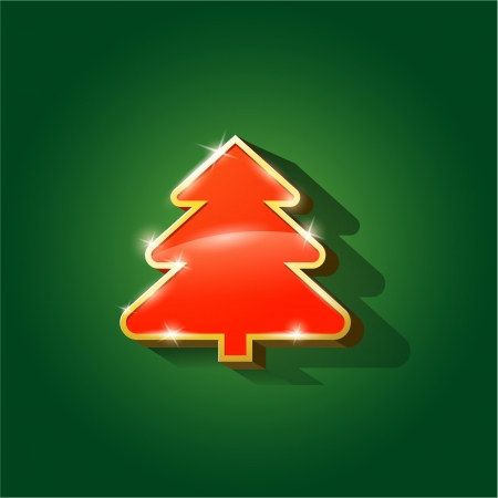 Glossy Christmas tree isolated on background eps 10 Vector