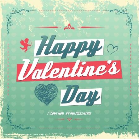 Retro vintage Valentines day greeting card design  Illusztráció