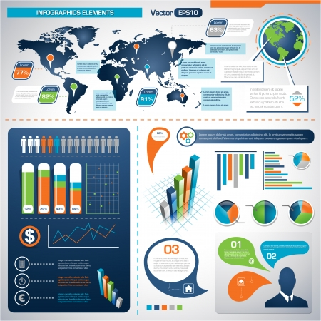 Set of Infographic Elements. World Map Graphics