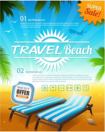 vacations: Summer beach vacation background illustration