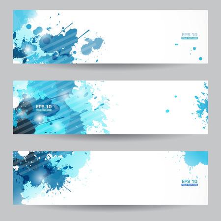 Drie abstracte artistieke banners headers met blauwe verf markeringen