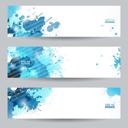 Three abstract artistic banners headers with blue paint splats