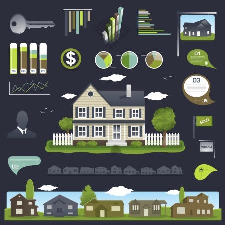 Onroerend goed infographics design met huis en elementen