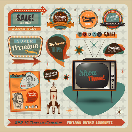 retro tv: Vintage And Retro Design Elements illustration