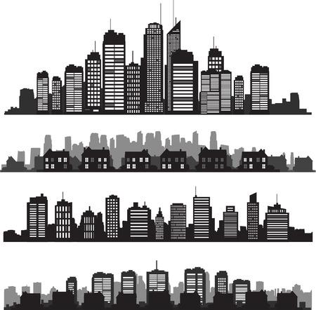 silhueta: Conjunto de vetor cidades silhueta e edif Ilustração