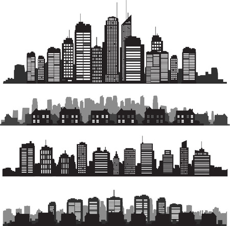 and scape: Set of vector cities silhouette and buildings