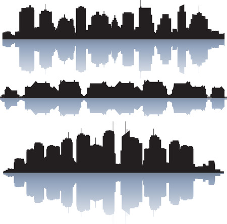 villa: Black vector cityscapes silhouettes with reflection