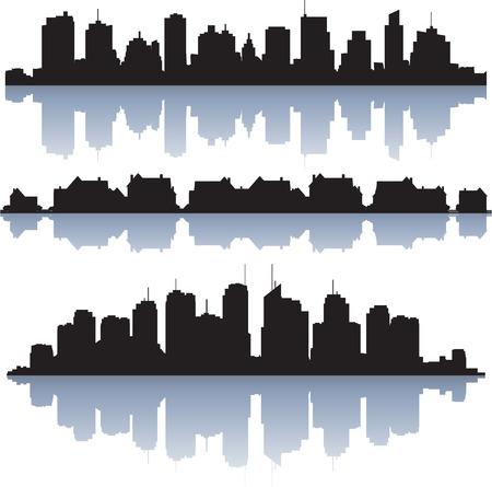 Zwarte vector stadsgezichten silhouetten met reflectie Stock Illustratie